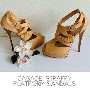 Casadei Strappy  Sandals Platform Nude